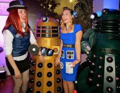 Retro TARDIS Cosplay and Amy Pond, terrified by Daleks